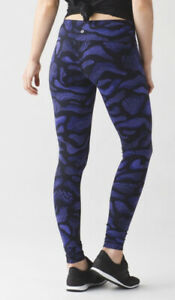 New Lululemon Wunder Under III Tight Pant Super Purple Black Warp 8