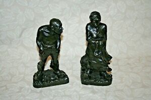 Ulfert Janssen quot;Delftspuckerquot; Signed Bronzed Metal Sculptures of Old Man amp; Woman $91.00