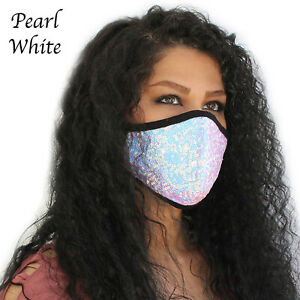 Women Sequin Bling glitter Face Mask Reusable Washable Protective Masks Cover