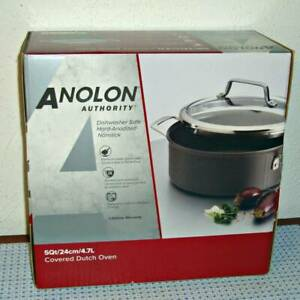 NEW ANOLON AUTHORITY HARD-ANODIZED NONSTICK COVERED DUTCH OVEN - 5 QUART - GRAY