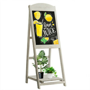 1 PC Vintage A-Frame Stand Up Blackboard Chalkboard Easel Display Shelf Folding