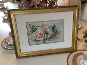 Vtg Antique Signed Pink Cabbage Rose Water Color Painting Victorian gold frame $65.00