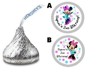 MINNIE MOUSE CUSTOM HERSHEY#x27;S KISS KISSES LABELS STICKERS BIRTHDAY PARTY FAVORS