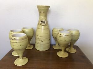 Vintage Hand Crafted Pottery Set Carafe amp; Wine Glasses Made by THE POTTERY 7PC