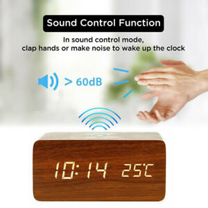 New Modern Wood Digital LED Desk Alarm Clocks Thermometer Qi-Wireless Charger