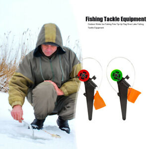 2x ABS Winter Ice Fishing Rod Flag Tip-Up Outdoor Portable River Fishing Tackle