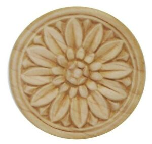 Wood Applique Die Cast Birch Bordered Daisy Blossom  3-1/2