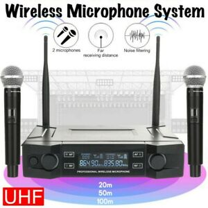 Professional 2 Channel UHF Wireless Dual Microphone Cordless Handheld Mic System $44.99