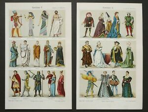 1897 Set of 2 antique lithographs of HISTORY OF COSTUME from Antiquity. Fashion. $14.00