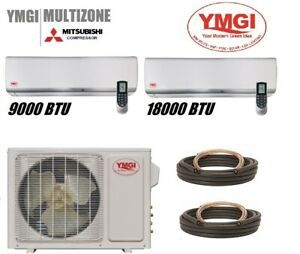 YMGI 27000 BTU 2 Zone Mini Split aire acondicionado Heat pump 220V 2.25T