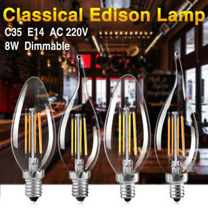 Dimmable Edison Filament COB LED Bulb Candle/Flame Evening Party Bar Lights 220V
