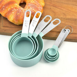 4Pcs Stainless Steel+PP Measuring Cups Spoons Kitchen Baking Cooking Tools Set
