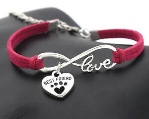 New Pink Paw Print Bracelet Best Friend Charm Infinity Love Velvet Leather Dogs
