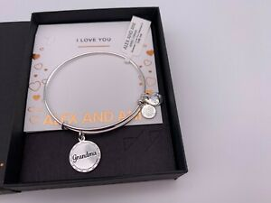 NEW Alex and Ani BECAUSE I LOVE YOU GRANDMA Silver Charm Bangle Bracelet NWT BOX $24.99