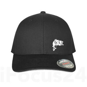 Best Fishing Gear Fitted Flex Fit Hat Round Bill Baseball Black Personalized Cap