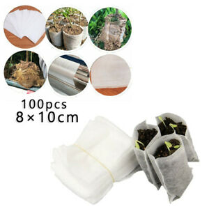 100X Biodegradable Non-Woven Seedling Grows Bags Planting Flower Vegetable Use