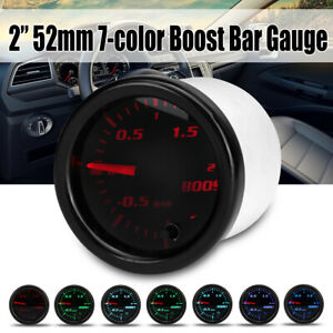 2 52mm Car Turbo Boost Gauge Pointer LED BAR Pressure Meter 7 Color Black Face