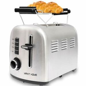2 Slice Compact Toaster Stainless Steel Extra Slot Bread with Manual Lift Lever