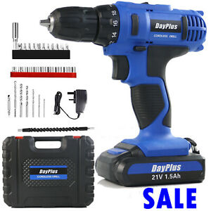 21V Cordless Drill Set Driver Screwdriver 1 / 2 Batteries Lithium Ion Carry Case