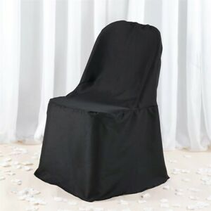 Black Premium POLYESTER Folding Flat CHAIR COVER Wedding Banquet Decorations