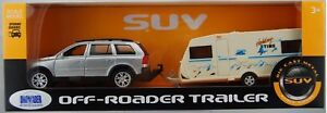 WELLY VOLVO XC90 WITH CAMPING TRAILER 1:32 DIE CAST METAL MODEL NEW IN BOX