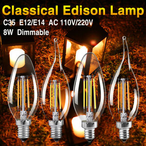 Dimmable Edison Filament COB LED Bulb Candle/Flame Evening Party Bar Lights AAD