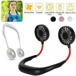 Portable USB Rechargeable Fan Neckband Lazy Neck Hanging Dual Cooling Mini Fan