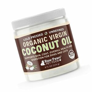 Raw Paws Organic Virgin Coconut Oil for Dogs amp; Cats 8 oz Supports Immune S...