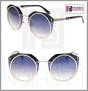 BALMAIN MONTURE 2534 Black Gold Blue Gradient Oversized Metal Sunglass BL2534