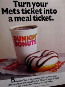 1999 Dunkin Donuts amp; The New Mets Original Print Ad 8.5 x 11quot;