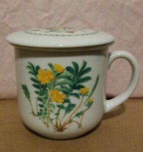 Gallery Collections Porcelain Tea Cup Mug With Lid And Infuser Strainer 3 Piece