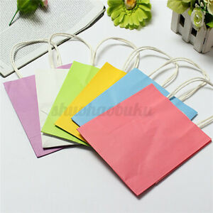 5Pcs Kraft Paper Handle Gift Shopping Bags for Birthday Weeding Party Supplies