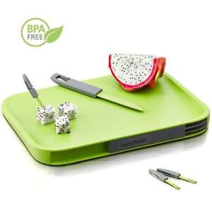Non-Slip Cutting Board Set Includes  -Knife, 3 Mini Forks, BPA Free Board