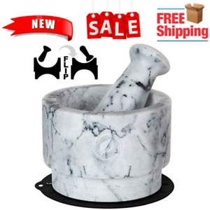 Mortar and Pestle Set Marble - 5.6 Inch, 2.2 Cup -r Bowl Solid Stone Grinder New