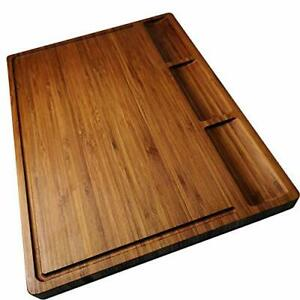 Large Bamboo Wood Cutting Board for Kitchen Cheese Charcuterie Board Set with...
