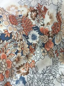 VINTAGE  (2PC) TWIN SHEET SET FLAT FITTED SHEET Boho Print FLORAL BROWN BLUE