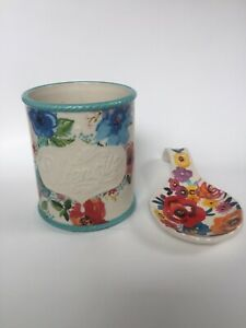 Lot Of 2: The Pioneer Woman Utensil Holder Stoneware Floral Plus Stove Ladle