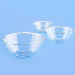 New Pyrex Glass Mixing Bowl Set (3-Piece Set, Nesting, Microwave and Dishwasher