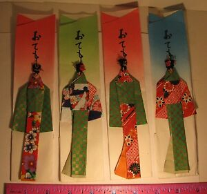 GEISHA GIRL ORIGAMI CHOPSTICK HOLDERS 4 GORGEOUS VINTAGE HOLDERS TOOTHPICK HEADS