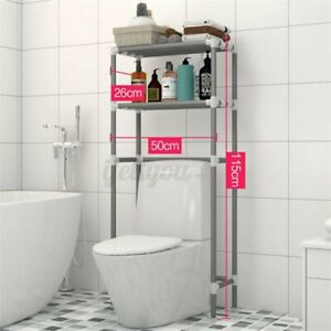 2 Tier Over The Toilet Storage Rack Shelf Space Saver Towel Organizer Bathroom