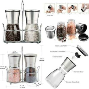 Premium Stainless Steel Pepper  Salt Grinder With Stand Set Of 2 Glass Body Adj