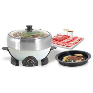 Electric Stainless Steel 2L Hot Pot with Detachable Grill