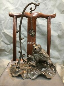 16''Pure red copper Lotus base carved animal frog toad bell incense burner