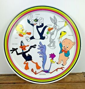 1974 Looney Tunes Warner Brothers Tin Tray Bugs Porky Daffy Tweety Sylvester VTG