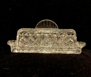 Beautiful Vintage Crystal Clear Glass Covered Butter Dish Heavy Pressed W/ Lid
