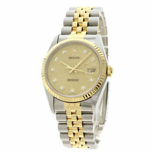 Free Shipping Pre-owned Rolex 16233G Datejust 10P Diamond Computer Dial