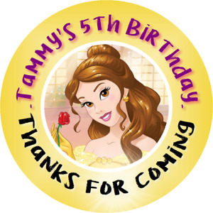 BELLE BEAUTY AND THE BEAST PERSONALIZED LABELS BIRTHDAY PARTY STICKERS FAVORS