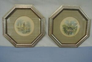PAIR OF VINTAGE LITHOGRAPHS IN 8.25quot; OCTAGON FRAMES TURNER $28.99