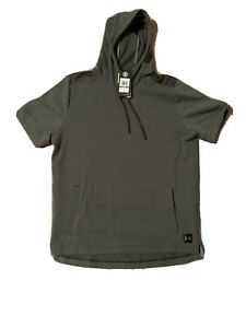 New Under Armour Short Sleeve Hoodie Mens Size Large Green 1323103 357 $34.99