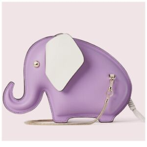 Kate Spade Tiny Elephant Crossbody Bag Iris Bloom Purple Leather Novelty NWT